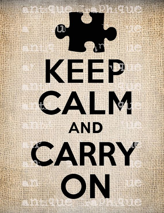 Keep Calm and Carry On Autism ASD Puzzle Quote Script Handwriting Illustration  Digital Download for Papercrafts, Transfer, Pillows No 2347. $1
