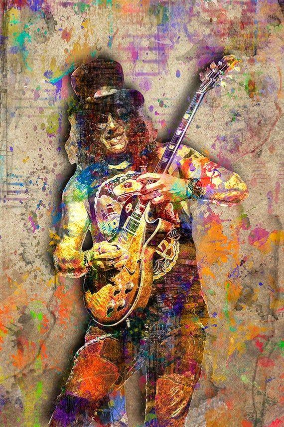 Slash hard rock guitar legend print Slash poster. Slash art print
