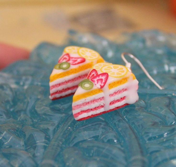 Cake Slice Earrings / Handmade / Polymer Clay #Handmade #DropDangle