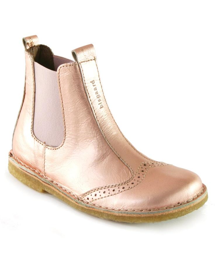 Bisgaard Brogue Ankle Boot In Metallic Pink    Igloo Kids Clothing