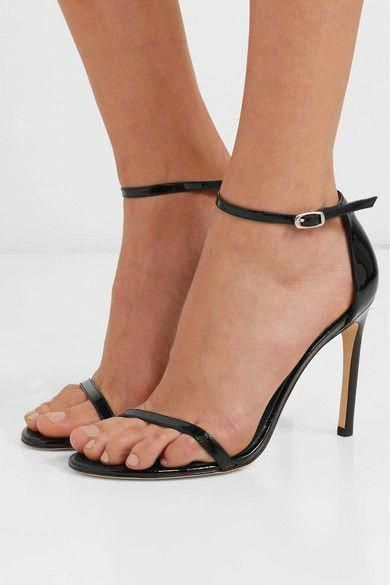 d83142aa08 Stuart Weitzman - Nudistsong Patent-leather Sandals - Black #StuartWeitzman