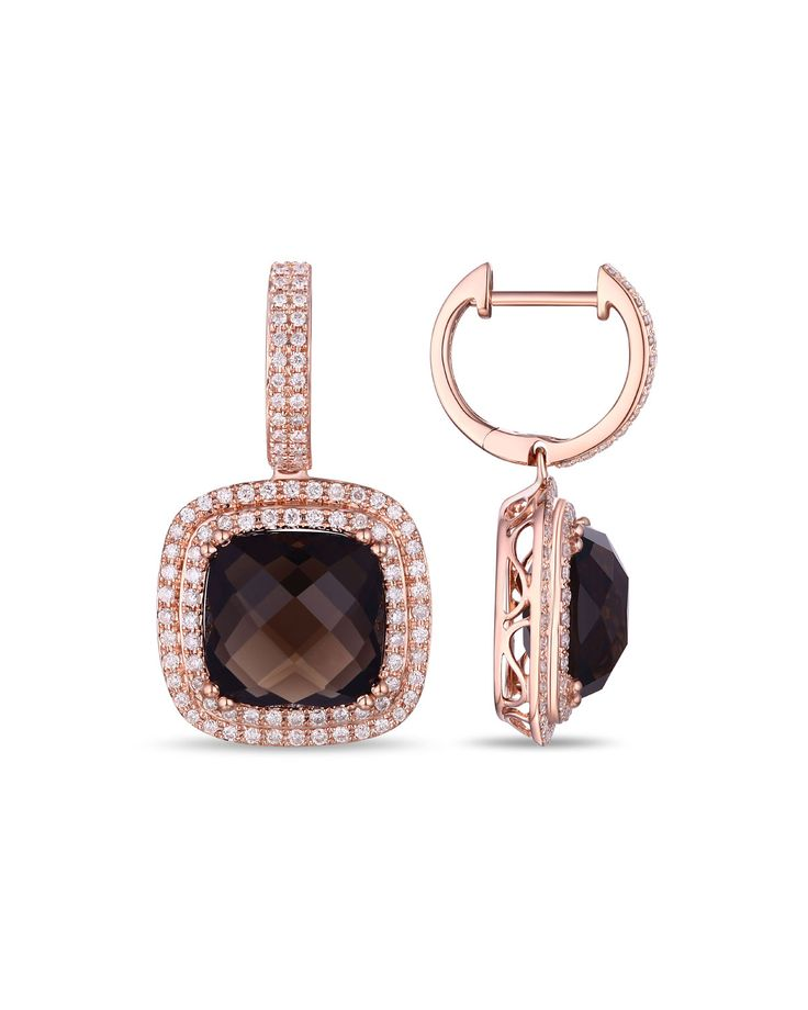 Diana M. Jewels 14k Rose Gold Smoky Topaz & Diamond Hoop-Drop Earrings