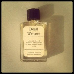Ernest Hemingway: Salt water, rum, coconut and lime, cigar smoke, Spanish wine    F. Scott Fitzgerald: Gin, citrus, oak (prep school, amirite), in a champagne-flute shaped bottle with gold flecks in it    Jane Austen: Darjeeling tea, snowdrops and pansies (flowers from her garden), meadow grass    More Perfumes Inspired by Dead Writers    Gin citrus and oak? I'm in.    (Source: bookriot)