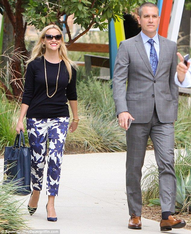 Couple's outing: Reese Witherspoon, 40,  was quite the beaming beauty as she spent time with husband Jim Toth, 45,  in Los Angeles on Monday
