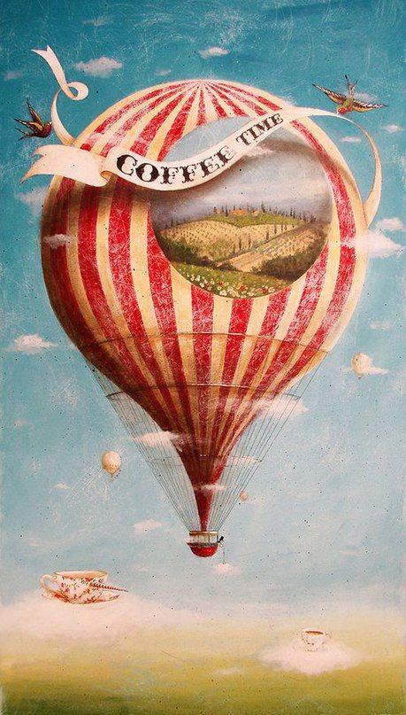 Воздушный шар ретро открытка