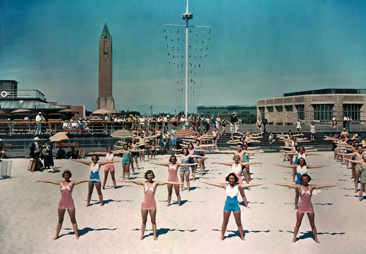 Free calisthenics lessons are given daily for beach visitors in Long Island, New York, 1939.  PHOTOGRAPH BY WILLARD CULVER, NATIONAL GEOGRAPHIC