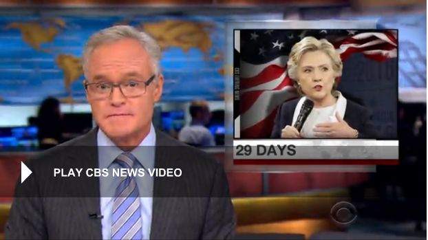 10 Oct. 2016: Poll: Clinton holds double-digit lead on Trump / Hillary Clinton was upbeat Monday following what her team called a win in Sunday night's debate and poll numbers showing her up by double digits on Donald Trump. But her mood may have been tempered a bit though by another Wikileaks release of her campaign chairman's personal emails. Nancy Cordes has more.