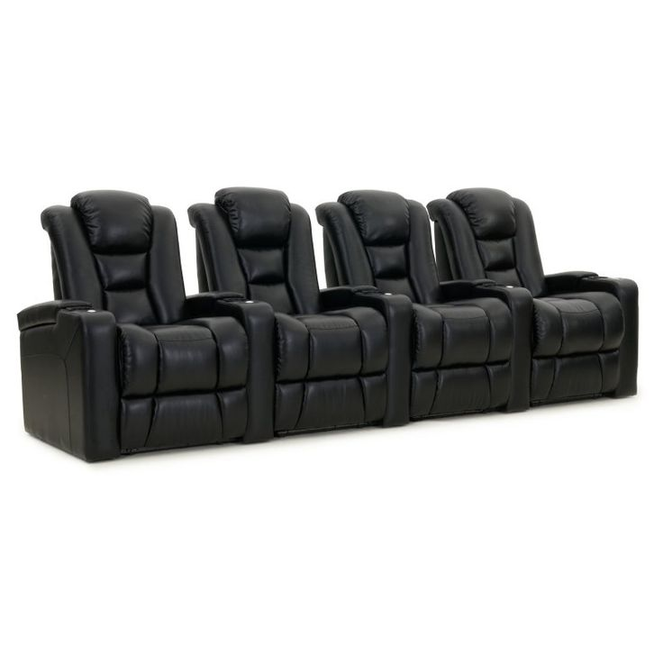Octane Mega XL950 4 Seater Power Recline Bonded Leather Home Theater Seating - MEGA-R4SP-BND-BL