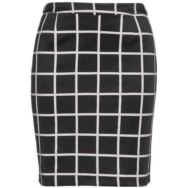 Zizzi Black / Beige Plus Size Grid print jersey skirt ($55) ❤ liked on Polyvore featuring skirts, black, plus size, womens plus size skirts, beige skirt, checkered skirt, short black skirt and straight skirt
