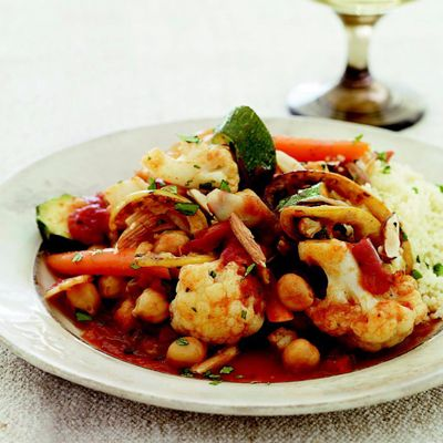 Cauliflower Tagine.......Fragrant North African spices mingle with cauliflower, vegetables, and lemon to create this exotic and easy vegetarian meal.