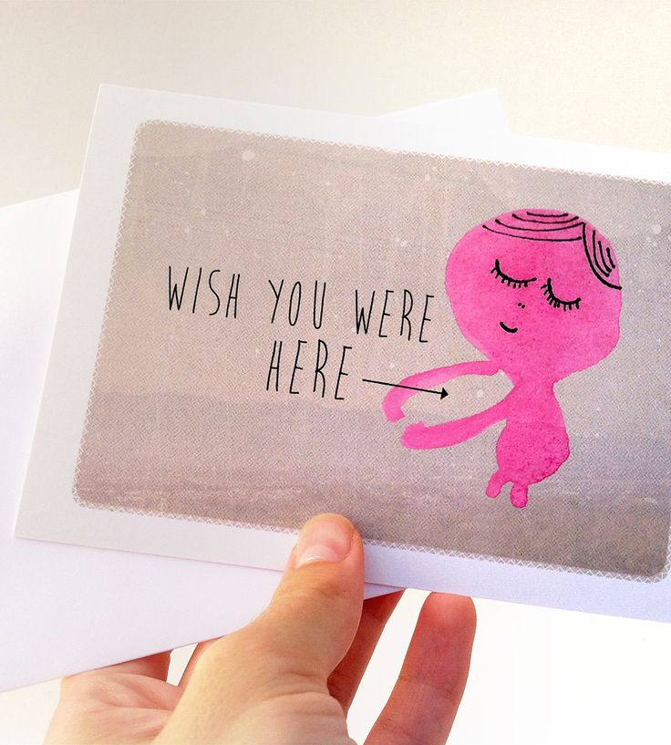 """wish you were here"" - funny + #romantic #card for the bf / husband"