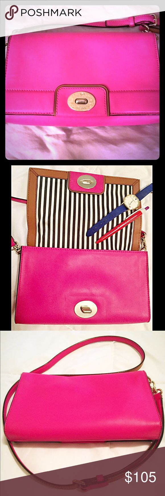 """kate spade Cross-body Purse This beautiful kate spade Hot Pink bag was purchased at Nordstrom. Used a few times, clasp closure has signs of wear other than that she's  in excellent condition. 9""""W x 6""""H x 1""""D. Very roomy for a cross-bag. kate spade Bags Crossbody Bags"""