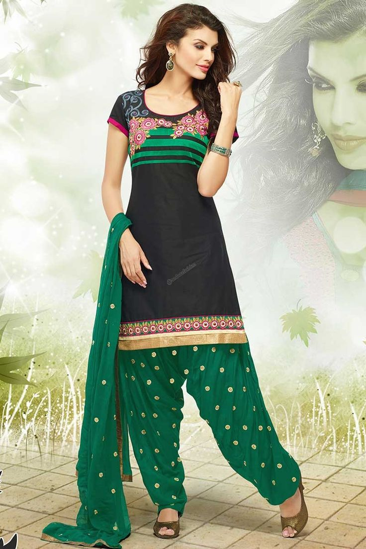 Black Cotton patiala Suit Price:  RM149.00 Andaaz Fashion Malaysia presents Contemporary, Traditional Patiala, Salwar kameez, Dress Material patiala Suit with Full Sleeve Kameez and Above Knee Length Kameez with Green Chiffon Duppata. Black Cotton Kameez designed with Kasab, Resham, Zari work. This design is perfect for Festival, Casual, Ceremonial and Occasion. http://www.andaazfashion.com.my/black-cotton-patiala-suit-dm12529.html