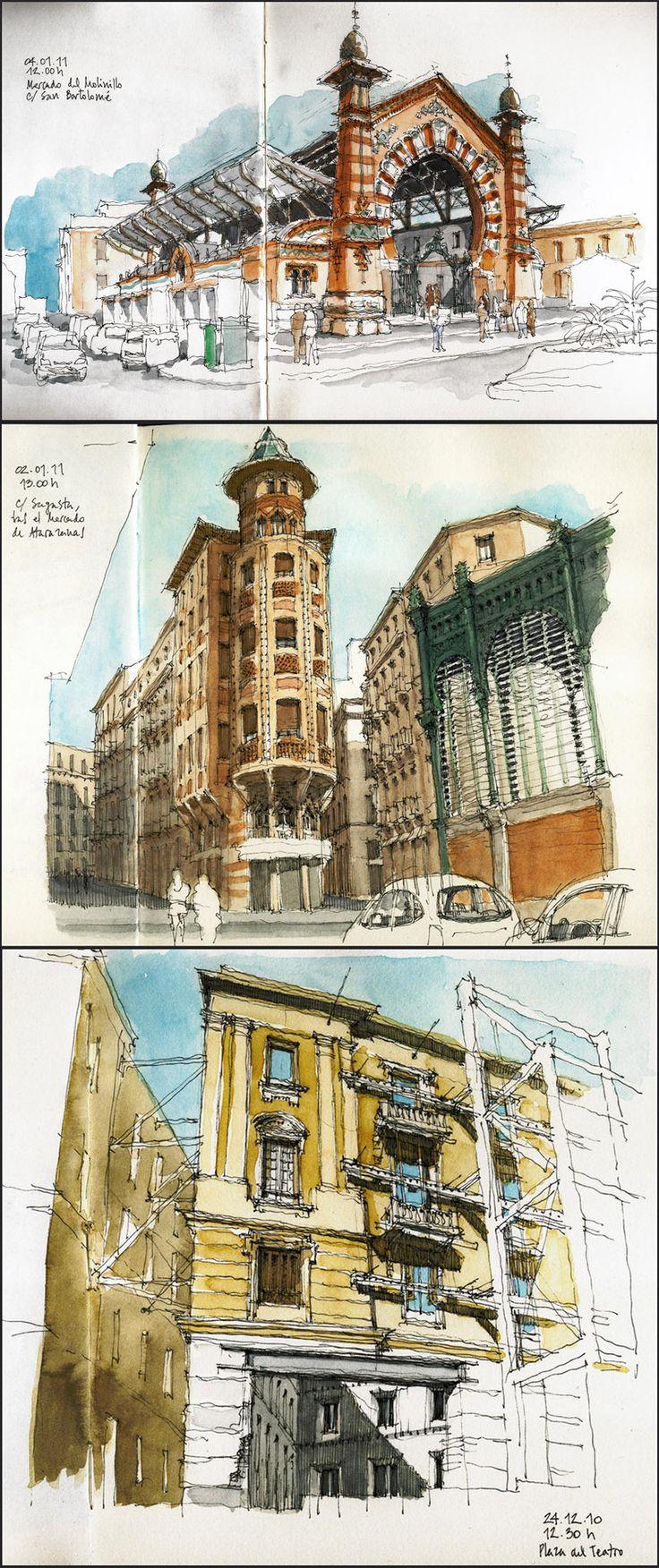 Luis Ruiz Padrón #urban #sketch #watercolor http://linesandcolors.com/2011/04/07/luis-ruiz/