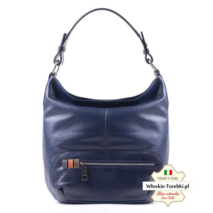 Worek w kolorze granatowym - torebka ze skóry nappa, model Bianca, mieści A4, pojemny i funkcjonalny, super Design