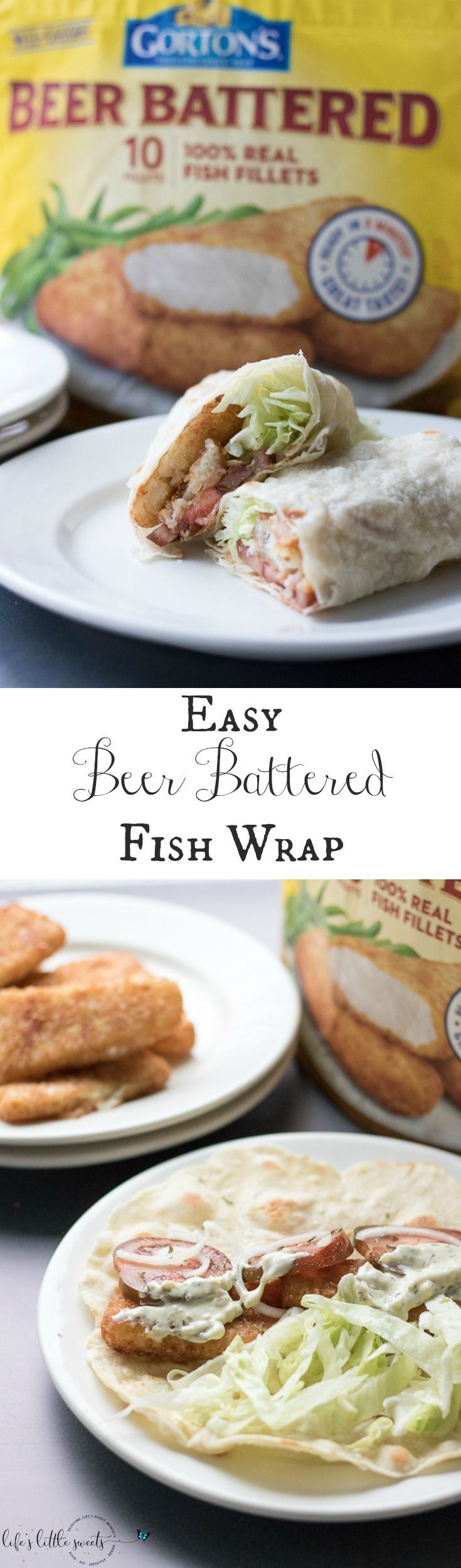 This Easy Beer Battered Fish Wrap has fresh ripe tomatoes, sliced onion, shaved Iceberg lettuce and Gorton's Beer Battered Fish Fillets - all wrapped up in a tortilla wrap. #GortonsMealTime#TrustGortons #CollectiveBias #ad @gortonsseafood