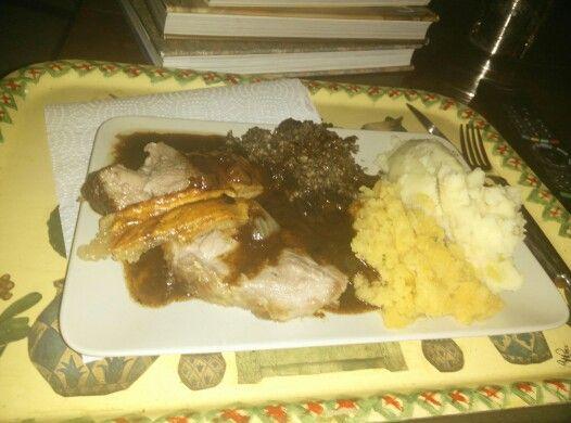 Roast Pork with Haggis, Tatties and Neeps! Made by my own fair hand! Happy Burns Night!