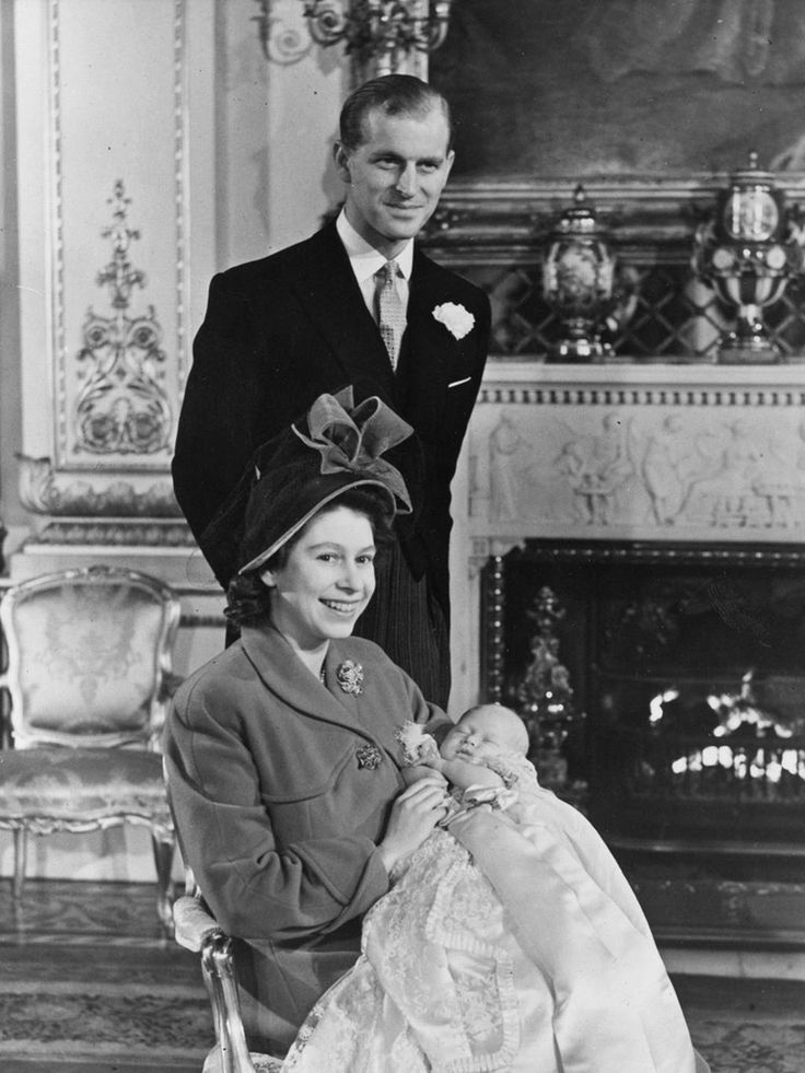 The Queen and Prince Philip with newborn Prince Charles