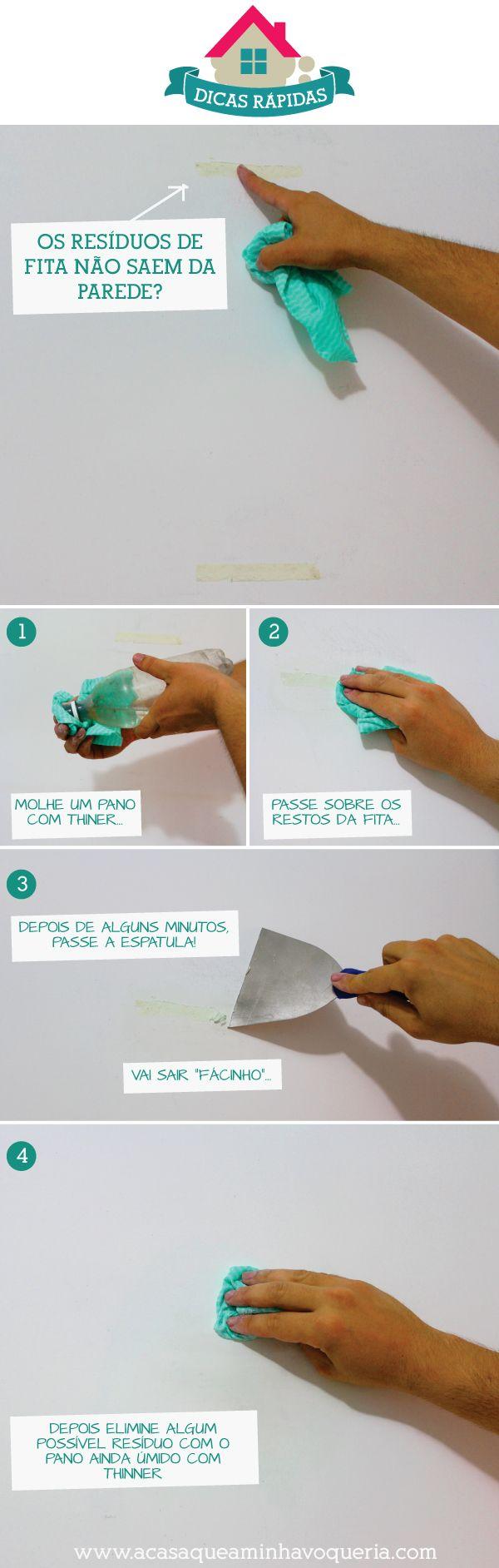 """Dícas rápidas: Como remover resíduos de fita dupla face da parede direto do blog """"A Casa que Minha Vó Queria"""":"""