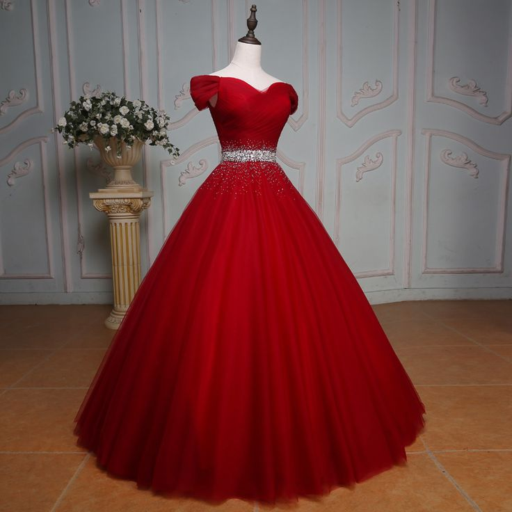 off the shoulder crystal beaded sashes red tulle