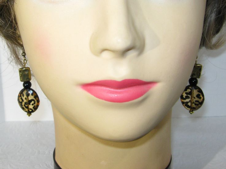 Leopard Spot Earrings, Gold Hammered Beads, Handmade by SouthernMedleyShop on Etsy