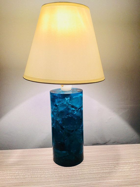 Mid Century Lamp Shattaline Crushed Ice Lamp Blue Vintage Retro Table Lamp Mid Century Lamp Retro Table Lamps Lamp