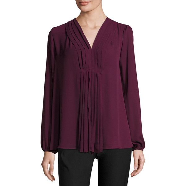 Max Studio Pleat-Front Long-Sleeve Blouse (450 MXN) ❤ liked on Polyvore featuring tops, blouses, currant, chiffon tops, long sleeve chiffon top, purple chiffon top, purple long sleeve top and purple chiffon blouse