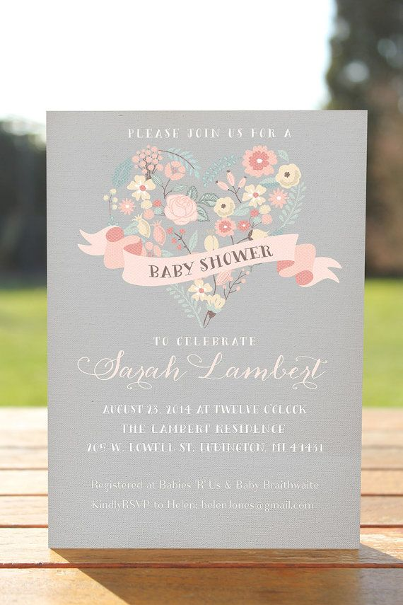 Gray and Pink Baby shower invitation, rustic baby shower invite, printable baby shower invitation,unique baby shower,floral shower invite on Etsy, $15.00