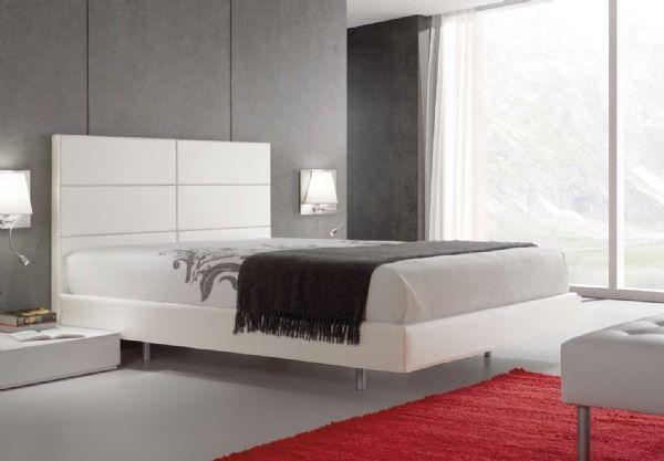 cama tapizada nit 16 - cabecero polipiel,piel y tela