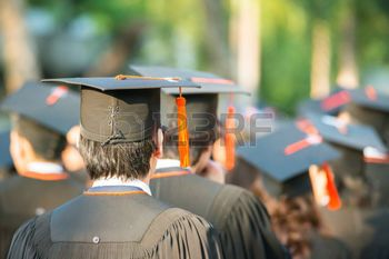 university students: back of graduates during commencement