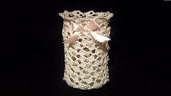 Portacandela all'Uncinetto Tutorial -Portavelas al Crochet- how to crochet a jar cover candleholder