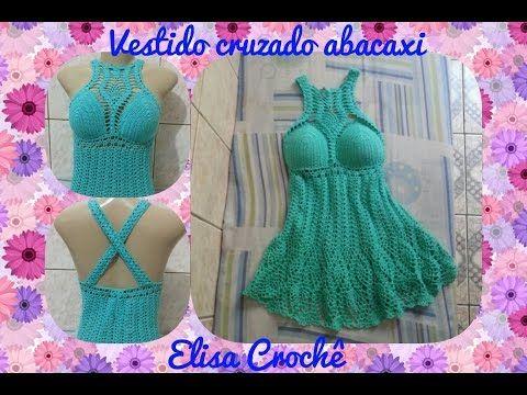 Vestido cruzado abacaxi em crochê ( 2ª parte ) # Elisa Crochê - YouTube