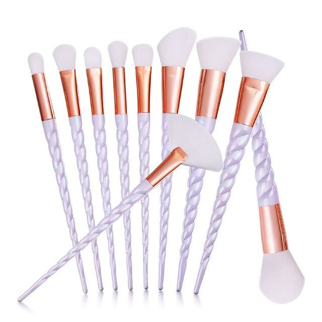 Unicorn Multi-Color Rose Gold Professional Makeup Brushes Set