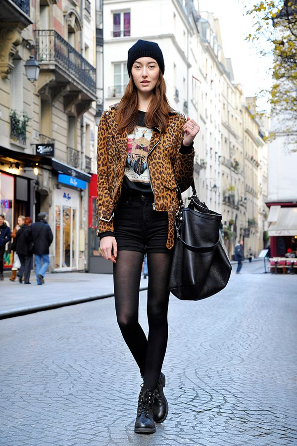 transitional clothing for fall or spring. incorporating layers, tights and boots. edgy french street style