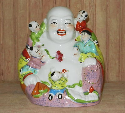 ANTIQUE VINTAGE CHINESE PORCELAIN HAPPY LAUGHING BUDDHA WITH CHILDREN STATUELaugh Buddha, Laughing Buddha, Vintage Chinese, Chinese Porcelain, Happy Laugh, Happy Buddha, Children Statues, Antiques Vintage, Porcelain Happy