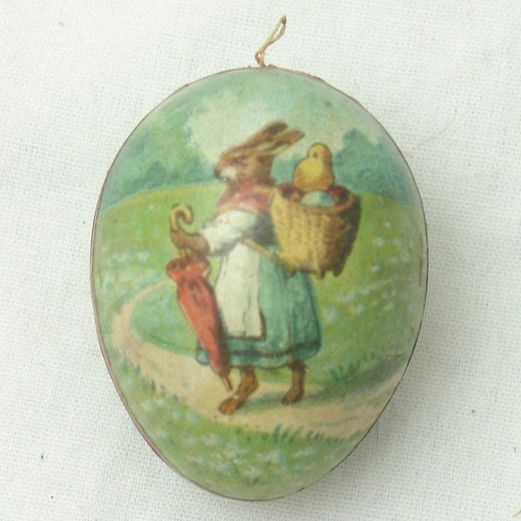 Antique Tiny Victorian Paper Mache Easter Egg Candy Container,Bunny Man & Woman