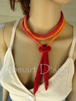 "now sold felt necklace ""Sunrise"" - OOAK - Felt Jewellery - necklace, handmade from wool. Usable also as hair band, wrist band, belt ... what ever you can imagine."