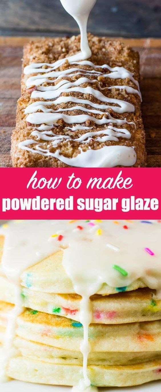 """Many old-fashioned recipes call for a """"Powdered Sugar Glaze or icing. Here's a tutorial on what exactly that drizzle recipe is for the tops of cakes, pastries and breads. Powdered Sugar Glaze {An Easy, Versatile Frosting or Drizzle Recipe} via @tastesoflizzyt"""