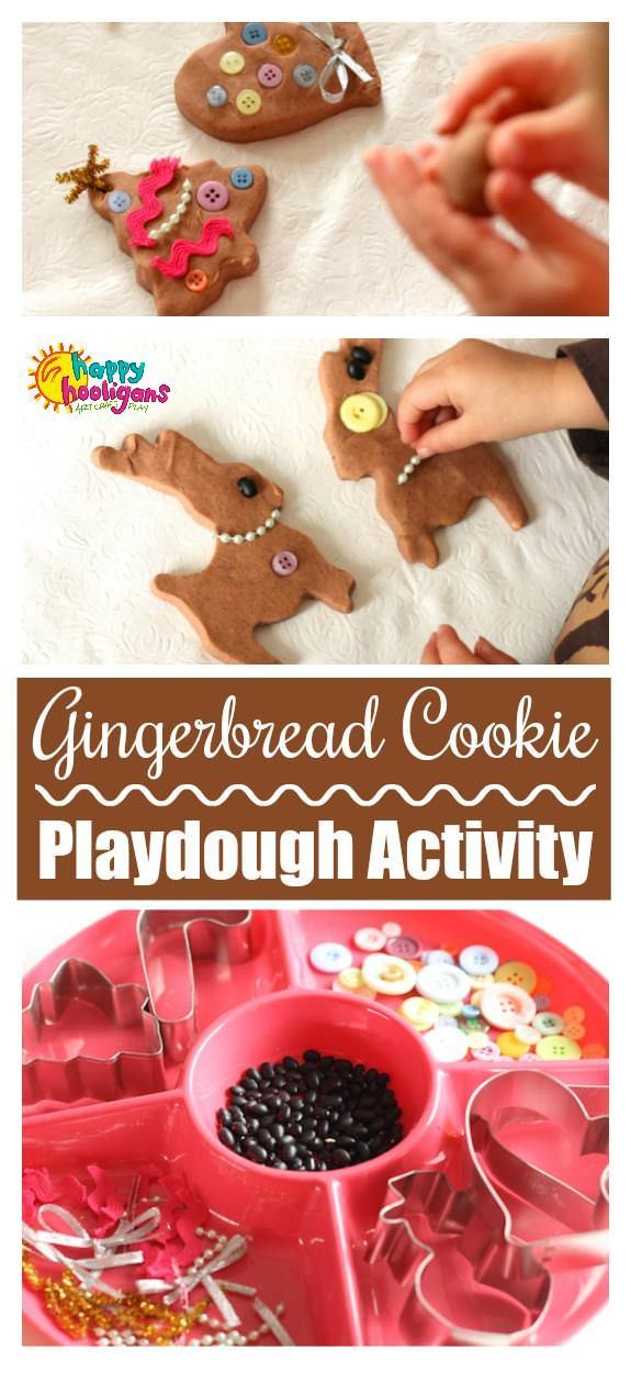 Gingerbread Playdough Activity for Kids. This playdough cookie decorating station is a great Christmas activity for toddlers and preschoolers. The no-cook playdough is easy tomato and stays super-soft for weeks. - Happy Hooligans #christmas #activiites #playdough #kids #toddlers #preschoolers