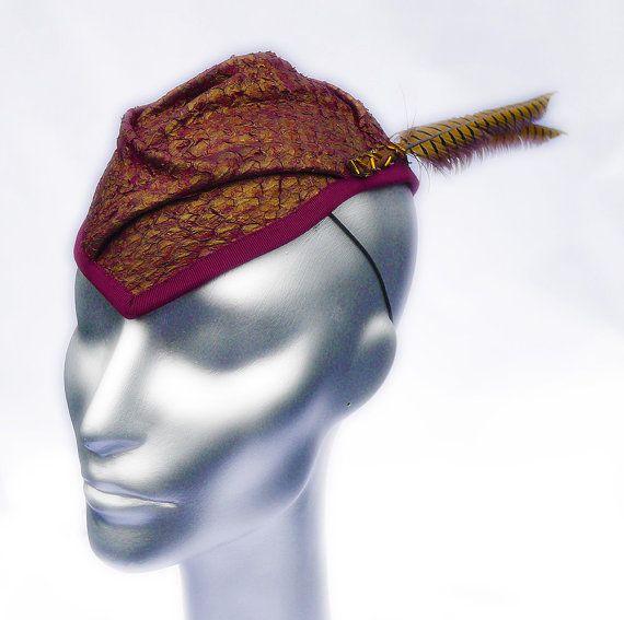 Garrison Fascinator Cocktail Hat in Copper Garnet by JasminZorlu, $385.00