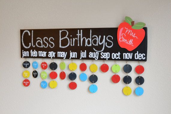 Birthday Calendar Kindergarten : Teacher gift chalkboard class birthday calendar name