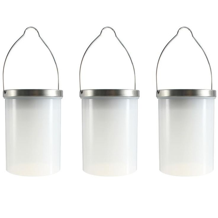 "Waterproof Solar Powered Hanging Cylinder LED Lanterns - 4.7"" (9"" with Hanger) x 3.5"" Ø"