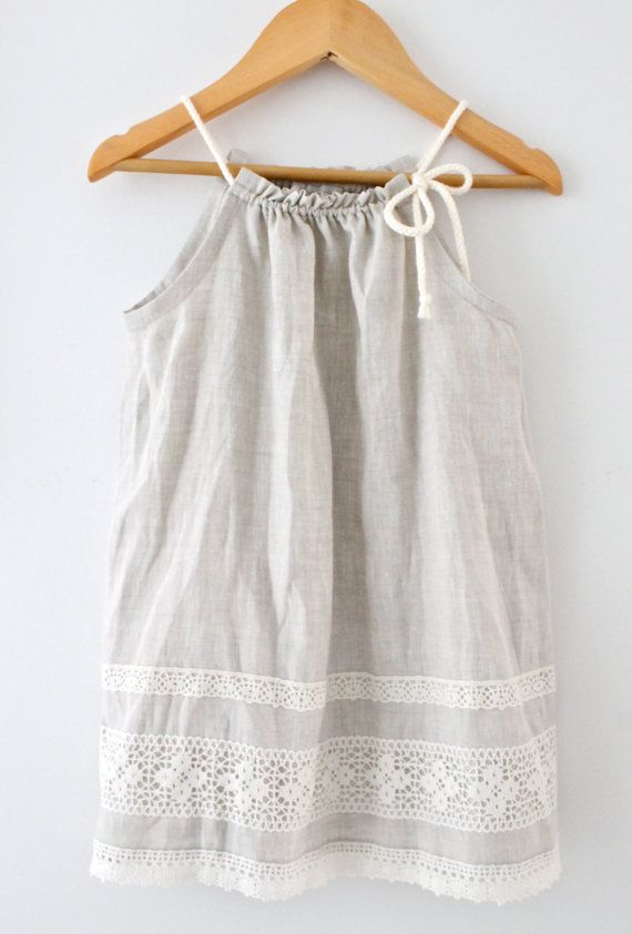 Toddler Girls Pure Natural Linen and Lace DressBaby by ChasingMini