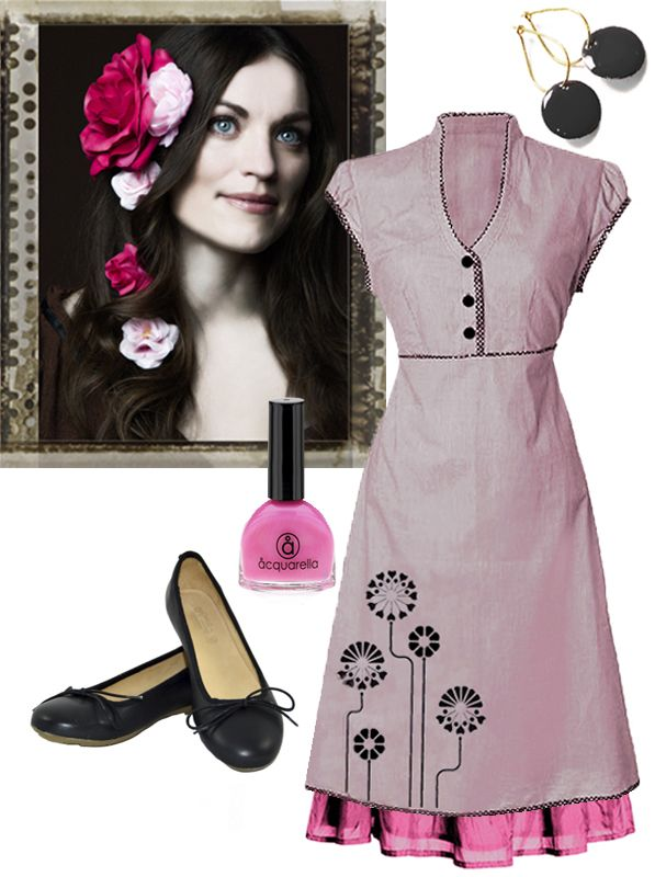 Summer is comming... Ecoutures Jobi-dress styled with accessories: Our Blackl Dot-earrings, Aquarella is doing wonderful nail polishes, the only truly safe nail polish that is both water-based and non-toxic, shoes from Martin Natur. And we really like E&L roses!