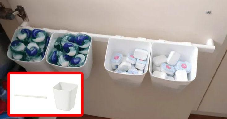 Platz sparen und Spültabs sortieren. Mit dem SUNNERSTA-System von Ikea. Einfach an deiner Schranktür befestigen.