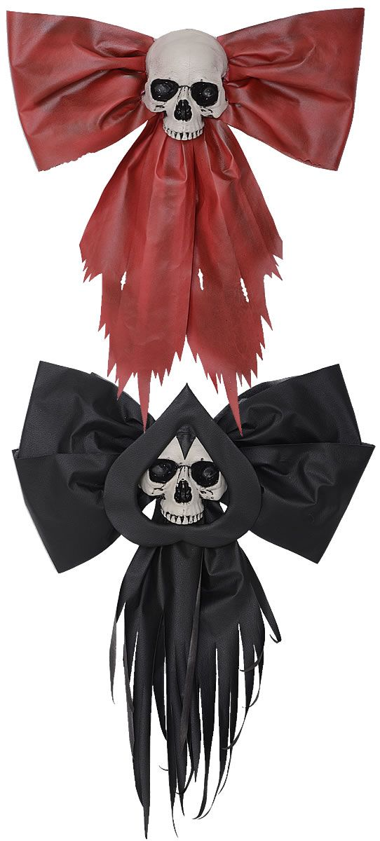 dont have to make them creepy, just glue the skulls to a red ribbon and hang on the wall Creepmas Bow