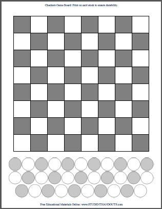 Free printable DIY checkers checkerboard. Grey-and-white or all-white game board (for kids to color the squares and pieces). Fun!