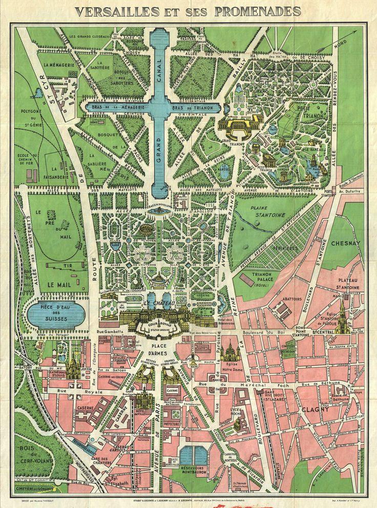 1920s Leconte Map of Versailles Gardens | 1664 Franse tuin: koppeling landschaft & macht, symmetrie, Axialität/allignment -> intimidatie, structuur, natuur wordt 'aangepast' machtspel, 'touwtjes in de hand', onderwerping en dominatie