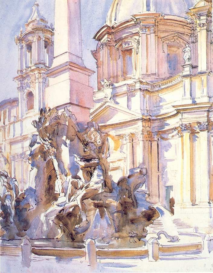 John Singer Sargent's Piazza Navona, Rome. 1907.  Collection of Erving and Joyce Wolf.  Watercolor and sepia ink on paper.  52.7 x 41.9 cm (20 3/4 x 16 1/2 In.)