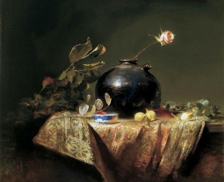 David Leffel - Silk Brocade w/Onions and Rose, 1999